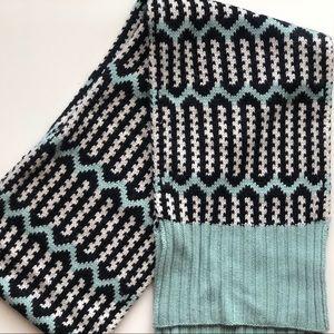 J Crew wool blend mint geometric pattern scarf